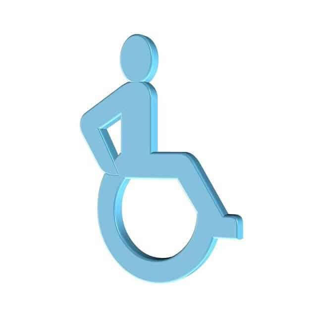 אייקון תכלת של ילד בכסא גלגלים